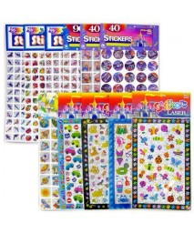 Ddi-288 PC 12 STYLE KIDS FOIL STICKERS BUGS DOLPHINS SPACE SHIPS 24 PC EACH CASE PACK 288